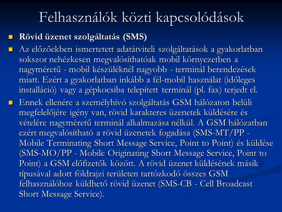 Rövid üzenet szolgáltatás (SMS) Rövid üzenet szolgáltatás (SMS) Az előzőekben ismertetett adatátviteli szolgáltatások a gyakorlatban sokszor nehézkesen megvalósíthatóak mobil környezetben a nagyméretű - mobil készüléknél nagyobb - terminál berendezések miatt.