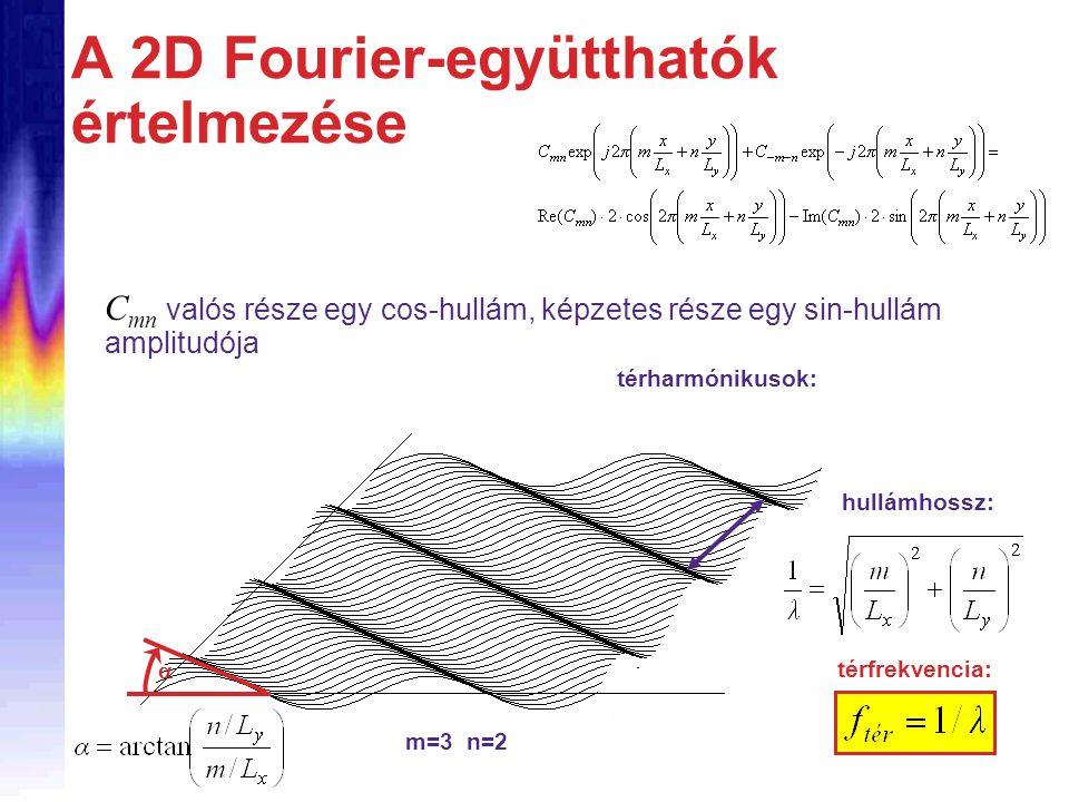 m=6 n=4 A 2D Fourier-együtthatók értelmezése C mn valós része egy cos-hullám, képzetes része egy sin-hullám amplitudója térharmónikusok: térfrekvencia: hullámhossz: m=3 n=2 