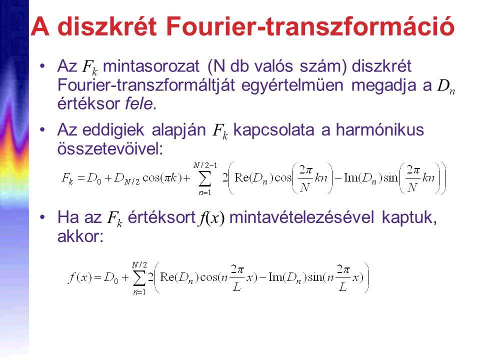 A diszkrét Fourier-transzformáció Az F k mintasorozat (N db valós szám) diszkrét Fourier-transzformáltját egyértelmüen megadja a D n értéksor fele.