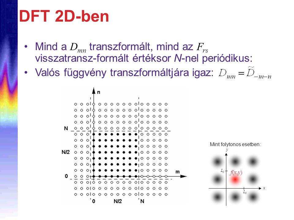 DFT 2D-ben Mind a D mn transzformált, mind az F rs visszatransz-formált értéksor N-nel periódikus: Valós függvény transzformáltjára igaz: LxLx LyLy y x f(x,y)f(x,y) Mint folytonos esetben: