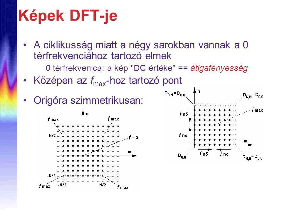 Képek DFT-je A ciklikusság miatt a négy sarokban vannak a 0 térfrekvenciához tartozó elmek 0 térfrekvenica: a kép DC értéke == átlgafényesség Középen az f max -hoz tartozó pont Origóra szimmetrikusan: