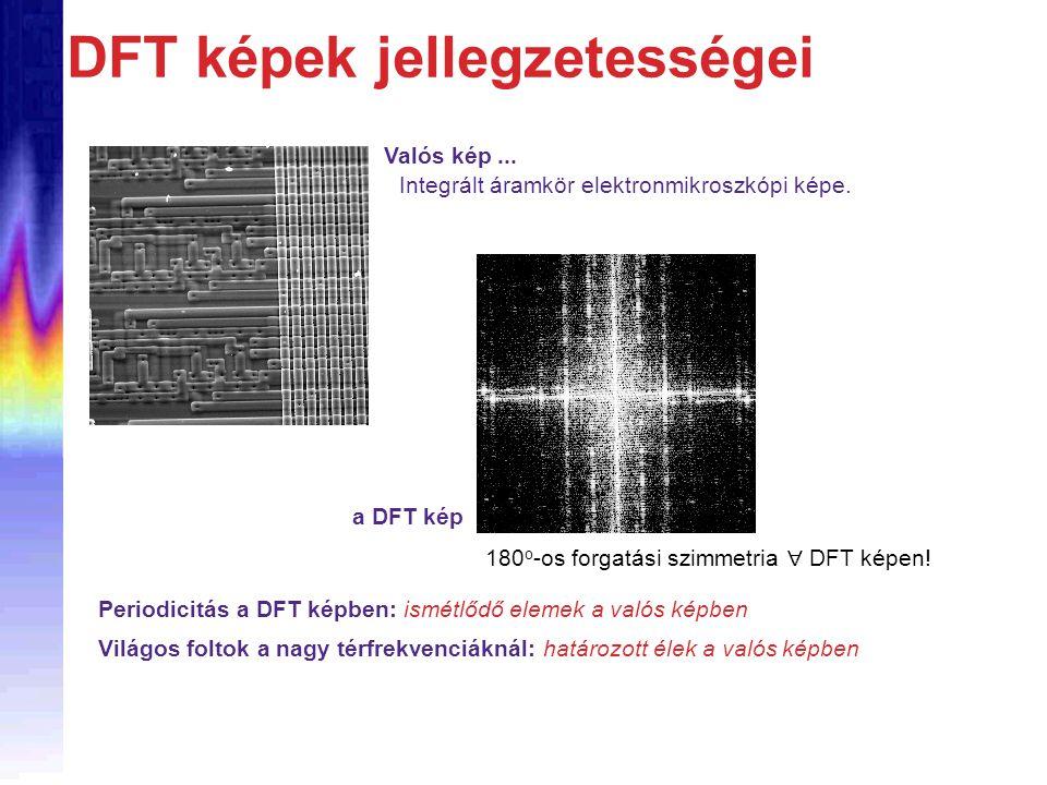 DFT képek jellegzetességei Valós kép...