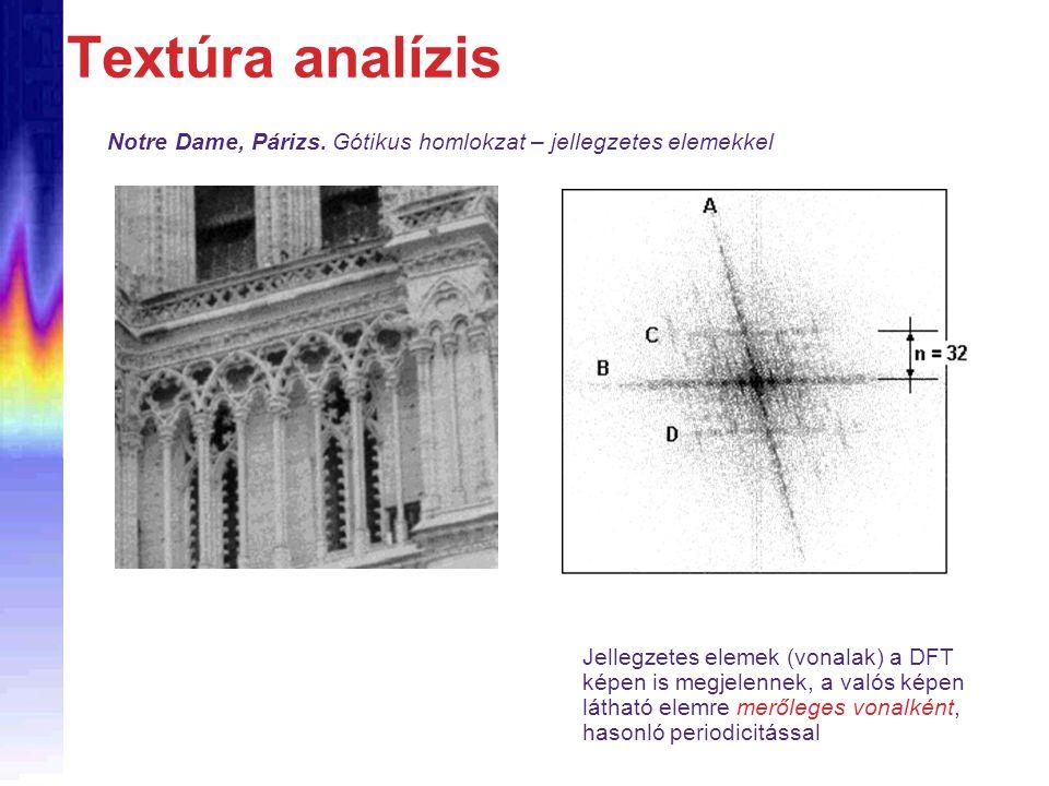 Textúra analízis Jellegzetes elemek (vonalak) a DFT képen is megjelennek, a valós képen látható elemre merőleges vonalként, hasonló periodicitással Notre Dame, Párizs.