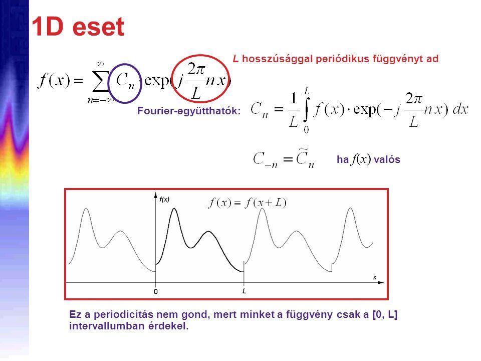 1D eset Fourier-együtthatók: L hosszúsággal periódikus függvényt ad Ez a periodicitás nem gond, mert minket a függvény csak a [0, L] intervallumban érdekel.