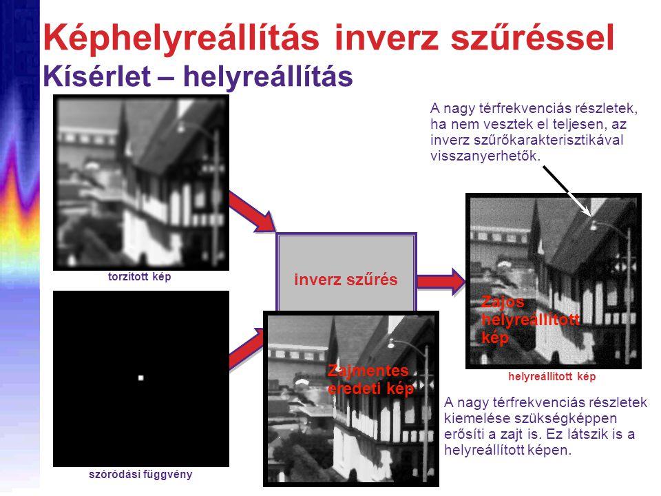 Képhelyreállítás inverz szűréssel Kísérlet – helyreállítás inverz szűrés torzított kép szóródási függvény helyreállított kép A nagy térfrekvenciás részletek, ha nem vesztek el teljesen, az inverz szűrőkarakterisztikával visszanyerhetők.