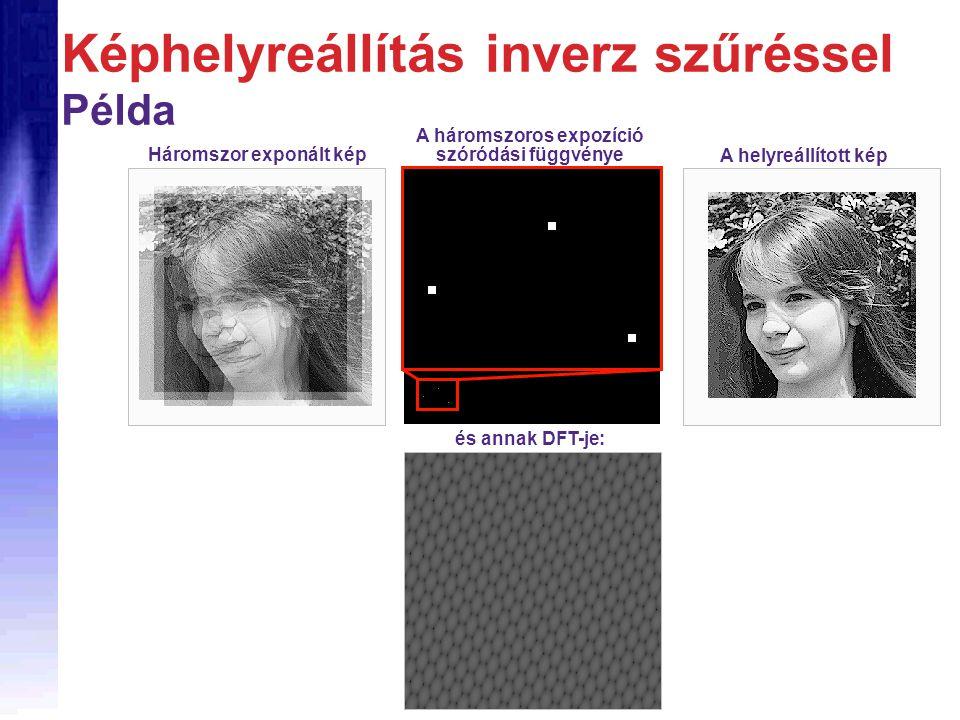 Képhelyreállítás inverz szűréssel Példa Háromszor exponált kép A háromszoros expozíció szóródási függvénye és annak DFT-je: A helyreállított kép