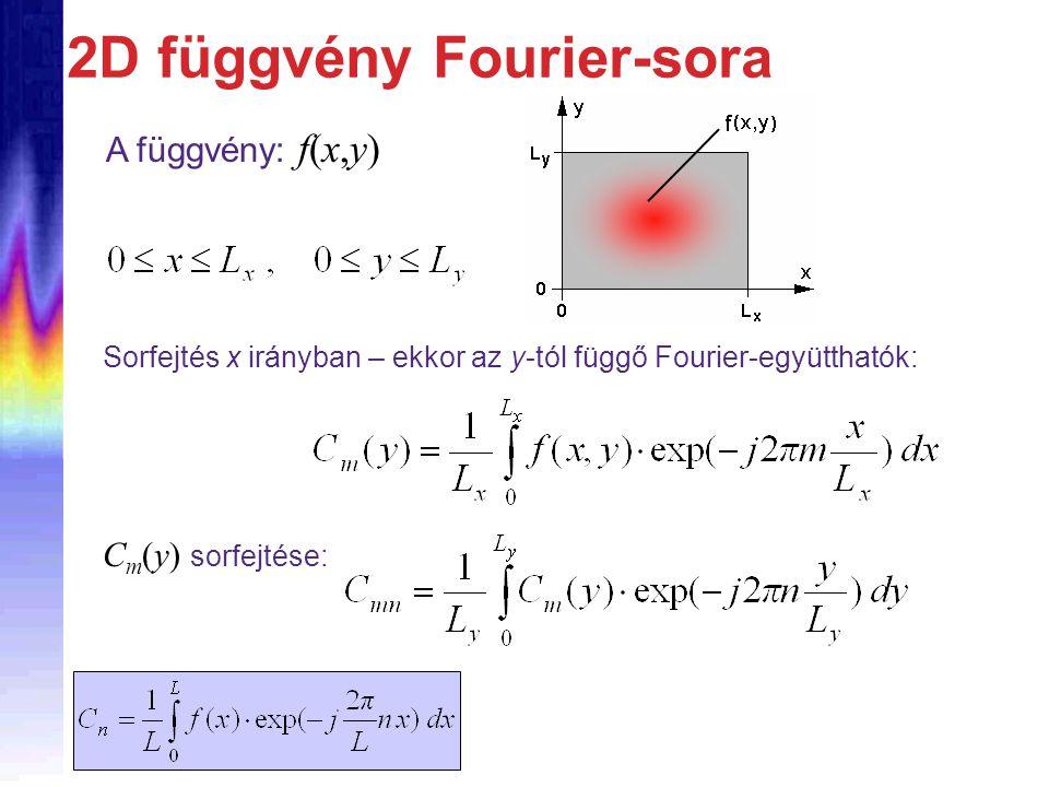 2D függvény Fourier-sora Sorfejtés x irányban – ekkor az y-tól függő Fourier-együtthatók: C m (y) sorfejtése: A függvény: f(x,y)