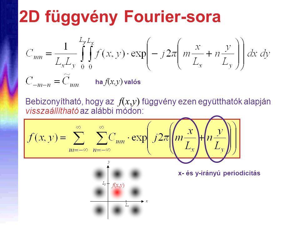 2D függvény Fourier-sora Bebizonyítható, hogy az f(x,y) függvény ezen együtthatók alapján visszaállítható az alábbi módon: x- és y-irányú periodicitás LxLx LyLy y x f(x,y)f(x,y) ha f(x,y) valós