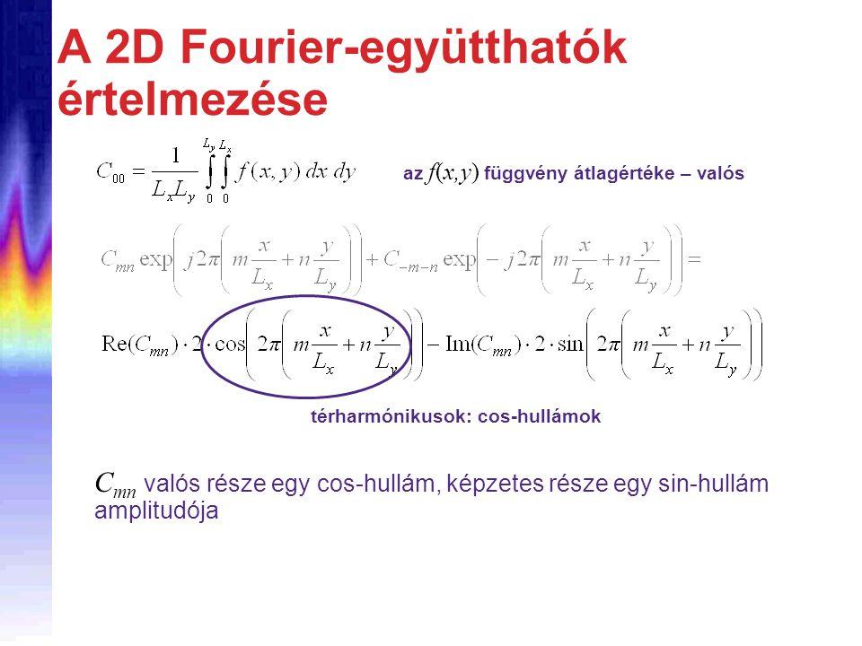 A 2D Fourier-együtthatók értelmezése az f(x,y) függvény átlagértéke – valós térharmónikusok: cos-hullámok C mn valós része egy cos-hullám, képzetes része egy sin-hullám amplitudója