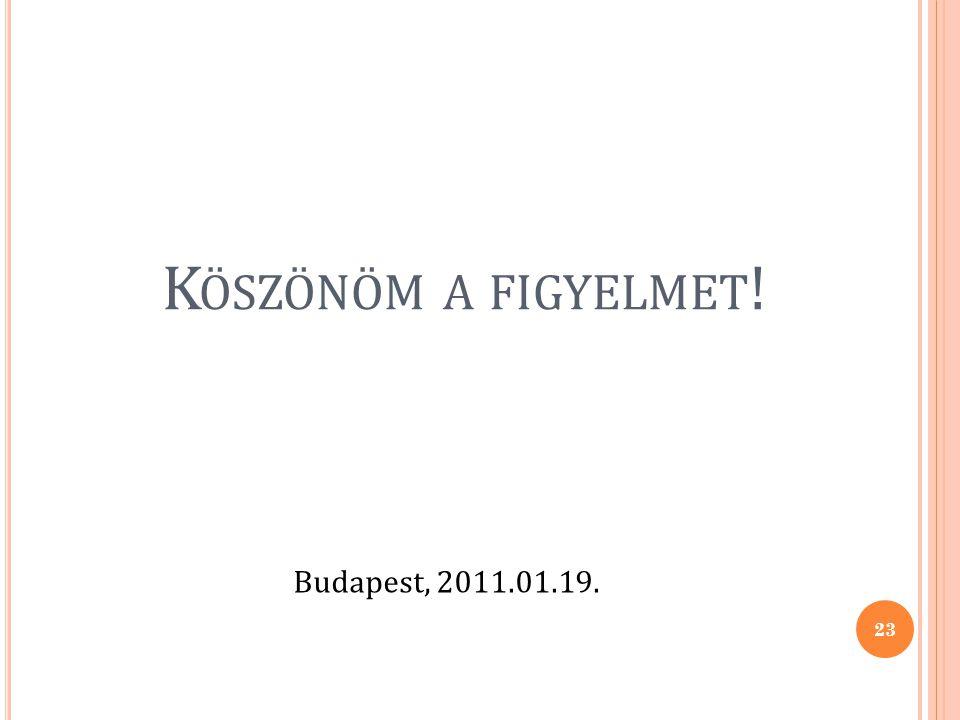 K ÖSZÖNÖM A FIGYELMET ! Budapest, 2011.01.19. 23