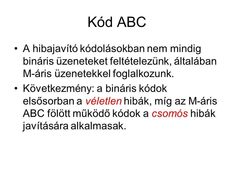Kód ABC A hibajavító kódolásokban nem mindig bináris üzeneteket feltételezünk, általában M-áris üzenetekkel foglalkozunk. Következmény: a bináris kódo