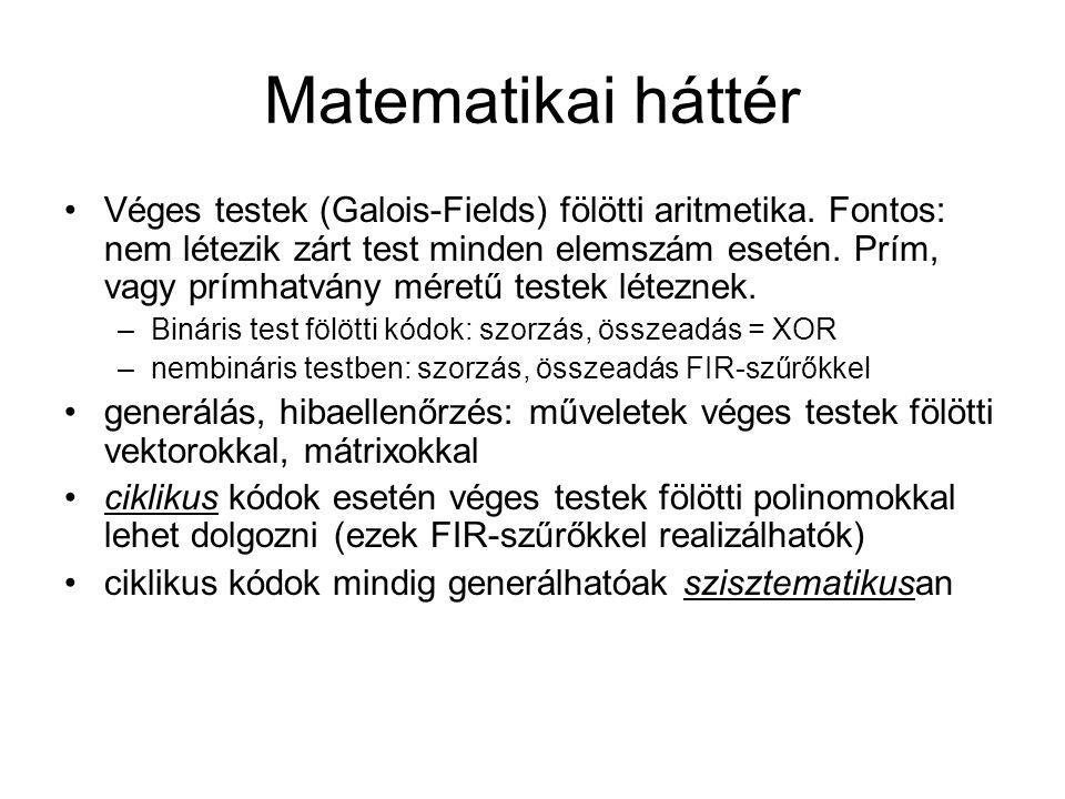 Matematikai háttér Véges testek (Galois-Fields) fölötti aritmetika. Fontos: nem létezik zárt test minden elemszám esetén. Prím, vagy prímhatvány méret