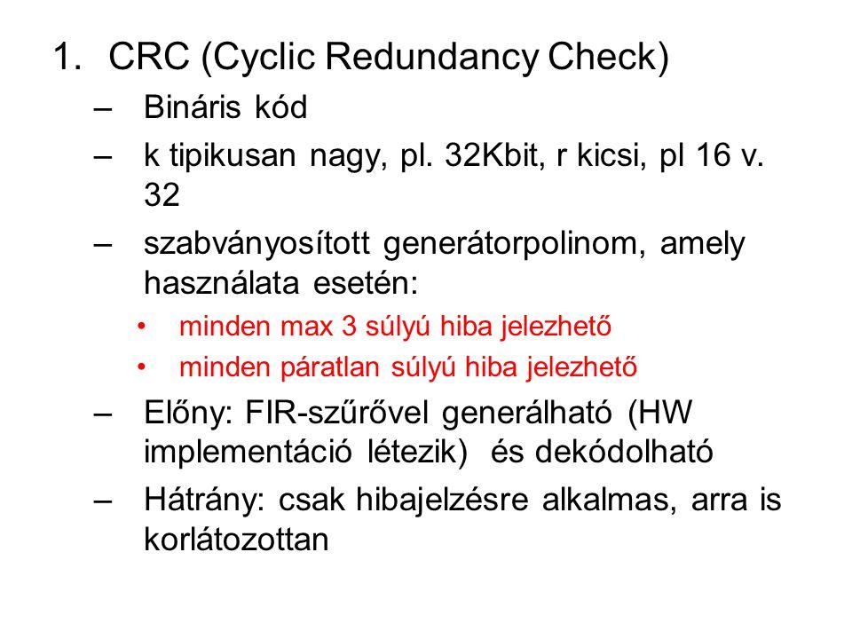 1.CRC (Cyclic Redundancy Check) –Bináris kód –k tipikusan nagy, pl. 32Kbit, r kicsi, pl 16 v. 32 –szabványosított generátorpolinom, amely használata e