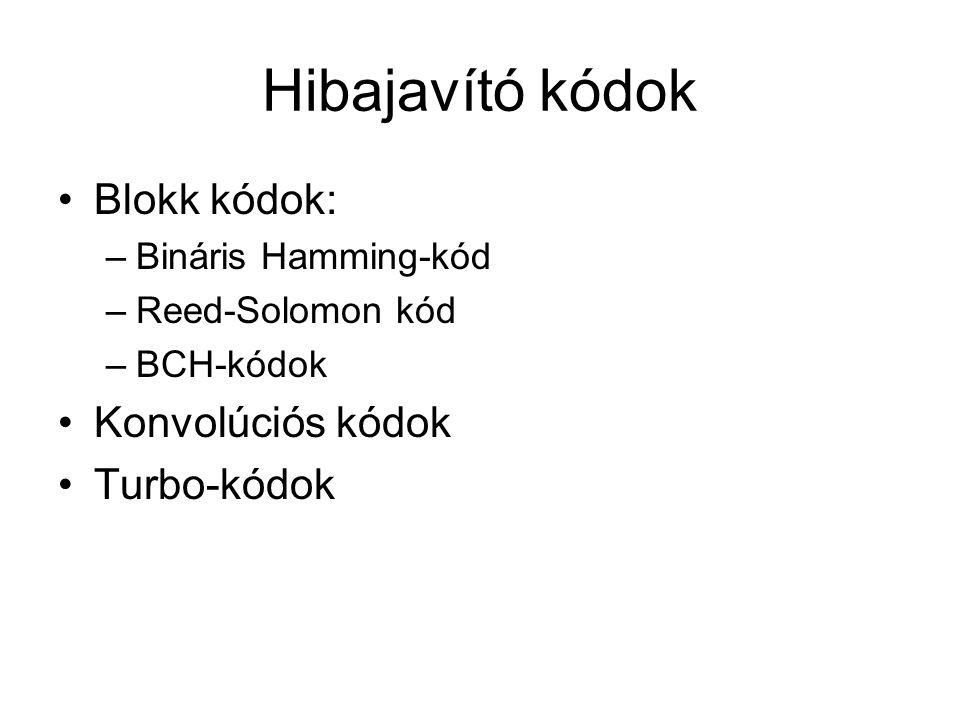 Hibajavító kódok Blokk kódok: –Bináris Hamming-kód –Reed-Solomon kód –BCH-kódok Konvolúciós kódok Turbo-kódok