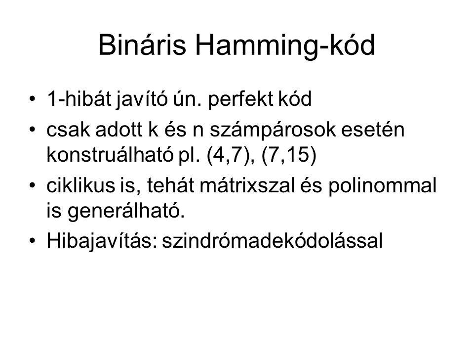 Bináris Hamming-kód 1-hibát javító ún. perfekt kód csak adott k és n számpárosok esetén konstruálható pl. (4,7), (7,15) ciklikus is, tehát mátrixszal