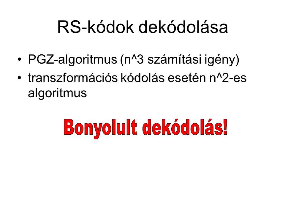 RS-kódok dekódolása PGZ-algoritmus (n^3 számítási igény) transzformációs kódolás esetén n^2-es algoritmus