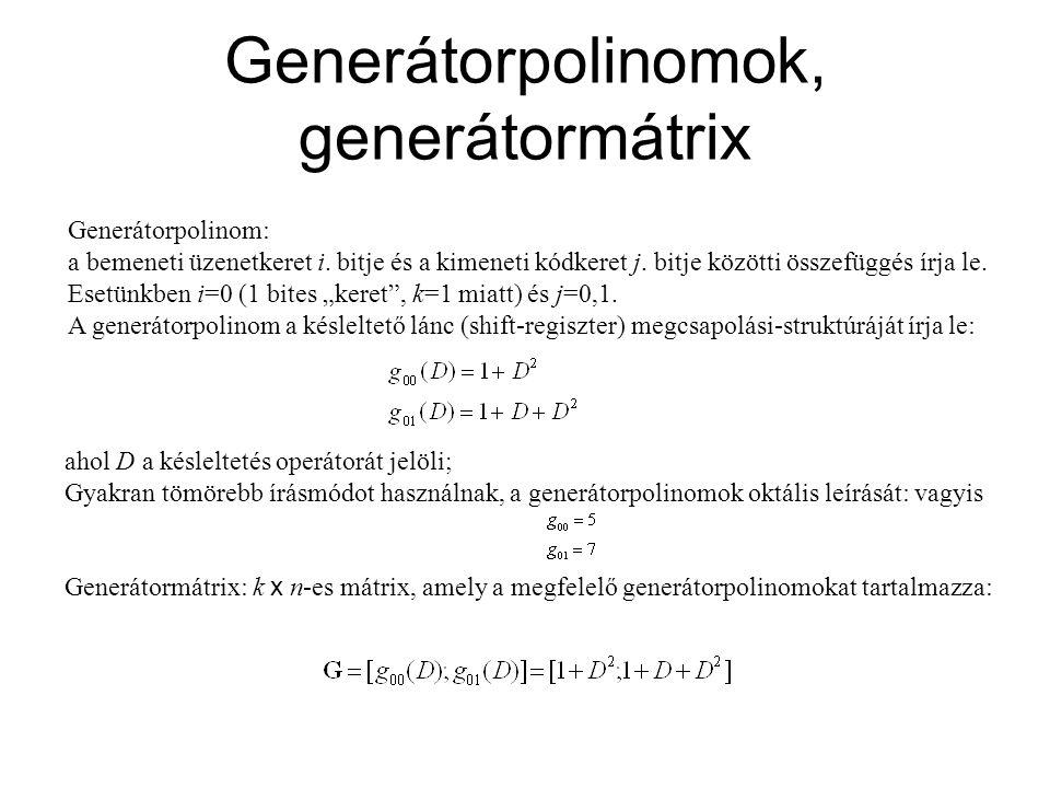 Generátorpolinomok, generátormátrix Generátorpolinom: a bemeneti üzenetkeret i. bitje és a kimeneti kódkeret j. bitje közötti összefüggés írja le. Ese