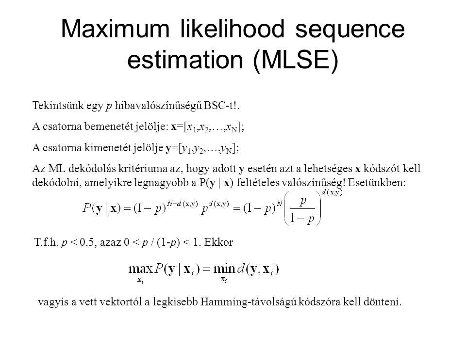 Maximum likelihood sequence estimation (MLSE) Tekintsünk egy p hibavalószínűségű BSC-t!. A csatorna bemenetét jelölje: x=[x 1,x 2,…,x N ]; A csatorna
