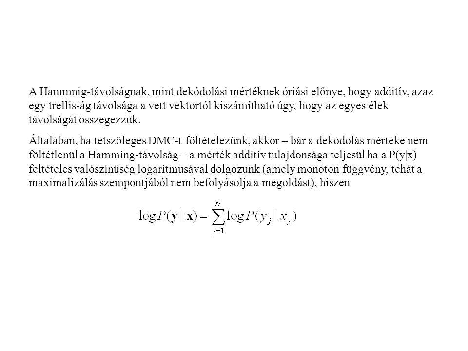 A Hammnig-távolságnak, mint dekódolási mértéknek óriási előnye, hogy additív, azaz egy trellis-ág távolsága a vett vektortól kiszámítható úgy, hogy az