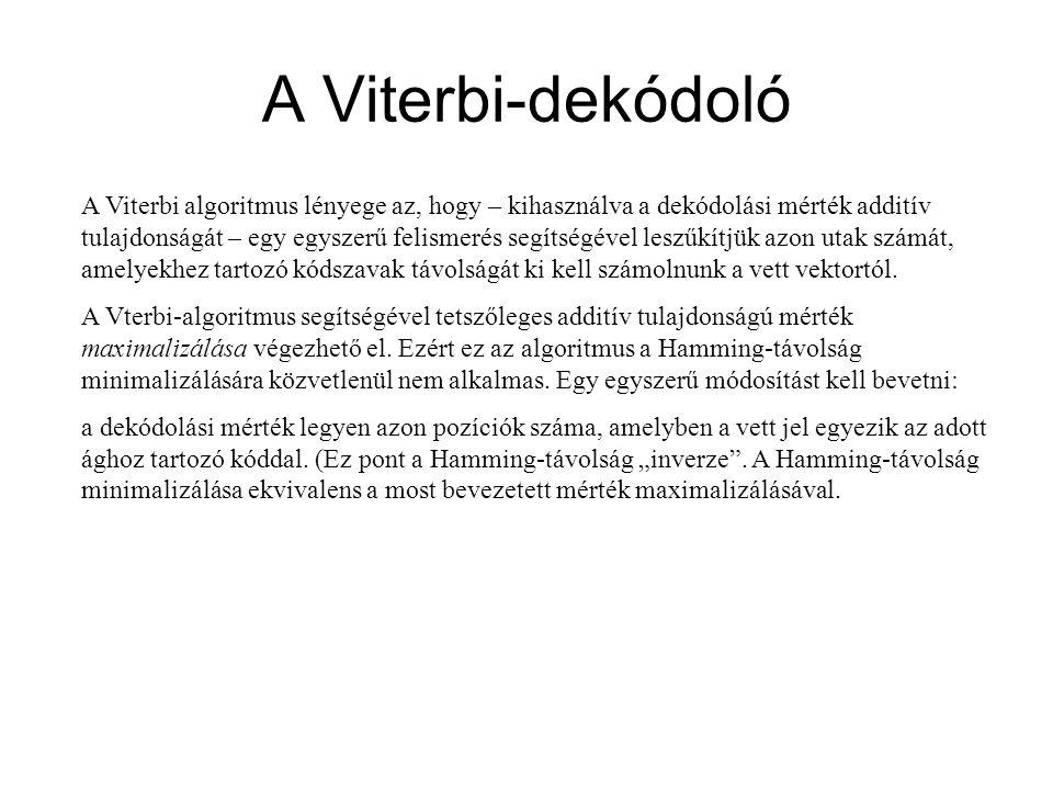 A Viterbi-dekódoló A Viterbi algoritmus lényege az, hogy – kihasználva a dekódolási mérték additív tulajdonságát – egy egyszerű felismerés segítségéve