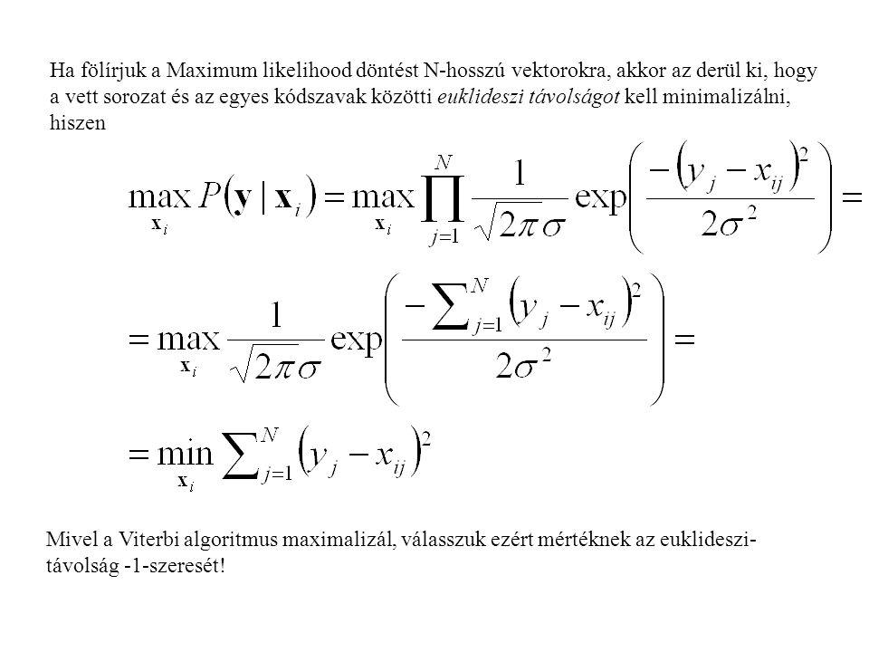Ha fölírjuk a Maximum likelihood döntést N-hosszú vektorokra, akkor az derül ki, hogy a vett sorozat és az egyes kódszavak közötti euklideszi távolság