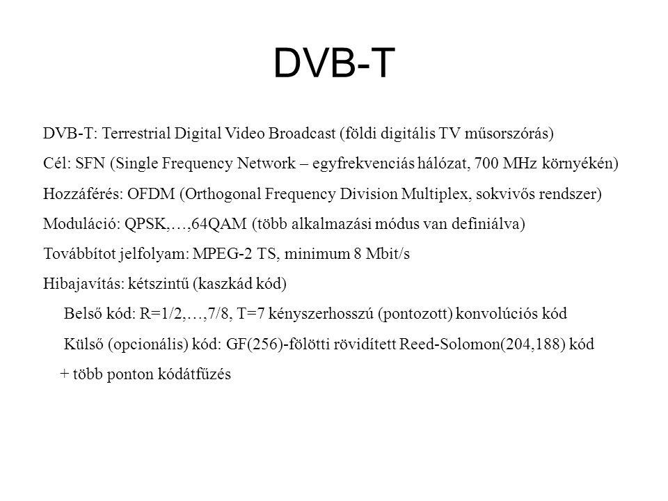 DVB-T DVB-T: Terrestrial Digital Video Broadcast (földi digitális TV műsorszórás) Cél: SFN (Single Frequency Network – egyfrekvenciás hálózat, 700 MHz