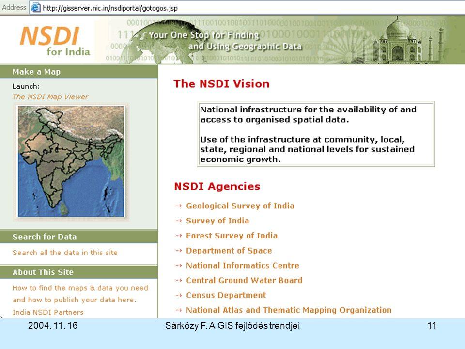 2004. 11. 16Sárközy F. A GIS fejlődés trendjei11