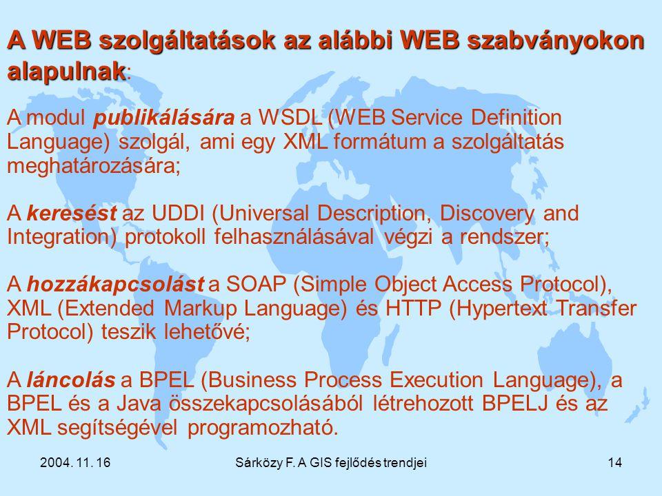 2004. 11. 16Sárközy F. A GIS fejlődés trendjei14 A WEB szolgáltatások az alábbi WEB szabványokon alapulnak A WEB szolgáltatások az alábbi WEB szabvány