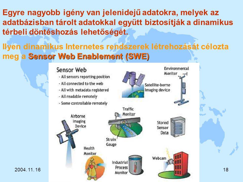 2004. 11. 16Sárközy F. A GIS fejlődés trendjei18 Egyre nagyobb igény van jelenidejű adatokra, melyek az adatbázisban tárolt adatokkal együtt biztosítj