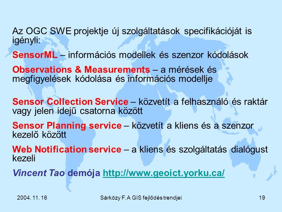 2004. 11. 16Sárközy F. A GIS fejlődés trendjei19 Az OGC SWE projektje új szolgáltatások specifikációját is igényli: SensorML – információs modellek és