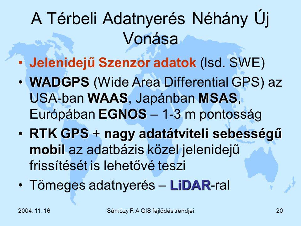 2004. 11. 16Sárközy F. A GIS fejlődés trendjei20 A Térbeli Adatnyerés Néhány Új Vonása Jelenidejű Szenzor adatok (lsd. SWE) WADGPS WAASMSAS EGNOSWADGP