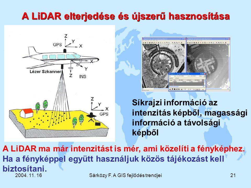 2004. 11. 16Sárközy F. A GIS fejlődés trendjei21 A LiDAR elterjedése és újszerű hasznosítása Síkrajzi információ az intenzitás képből, magassági infor