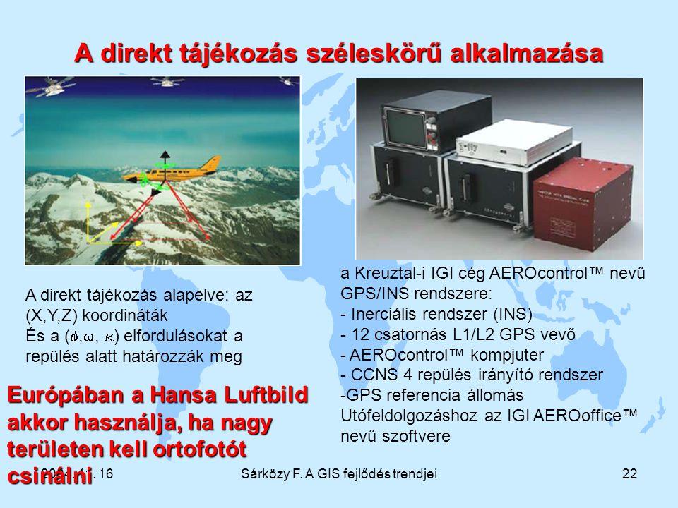 2004. 11. 16Sárközy F. A GIS fejlődés trendjei22 A direkt tájékozás széleskörű alkalmazása a Kreuztal-i IGI cég AEROcontrol™ nevű GPS/INS rendszere: -