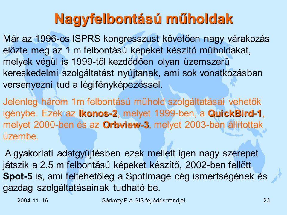 2004. 11. 16Sárközy F. A GIS fejlődés trendjei23 Már az 1996-os ISPRS kongresszust követően nagy várakozás előzte meg az 1 m felbontású képeket készít