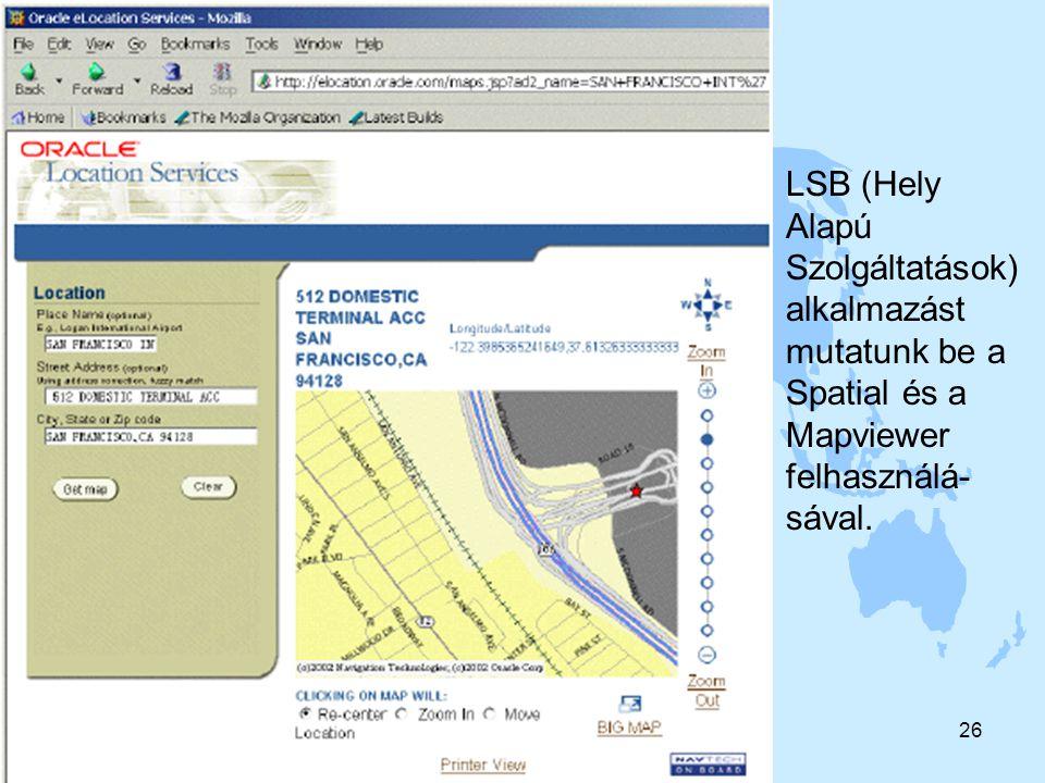 2004. 11. 16Sárközy F. A GIS fejlődés trendjei26 LSB (Hely Alapú Szolgáltatások) alkalmazást mutatunk be a Spatial és a Mapviewer felhasználá- sával.