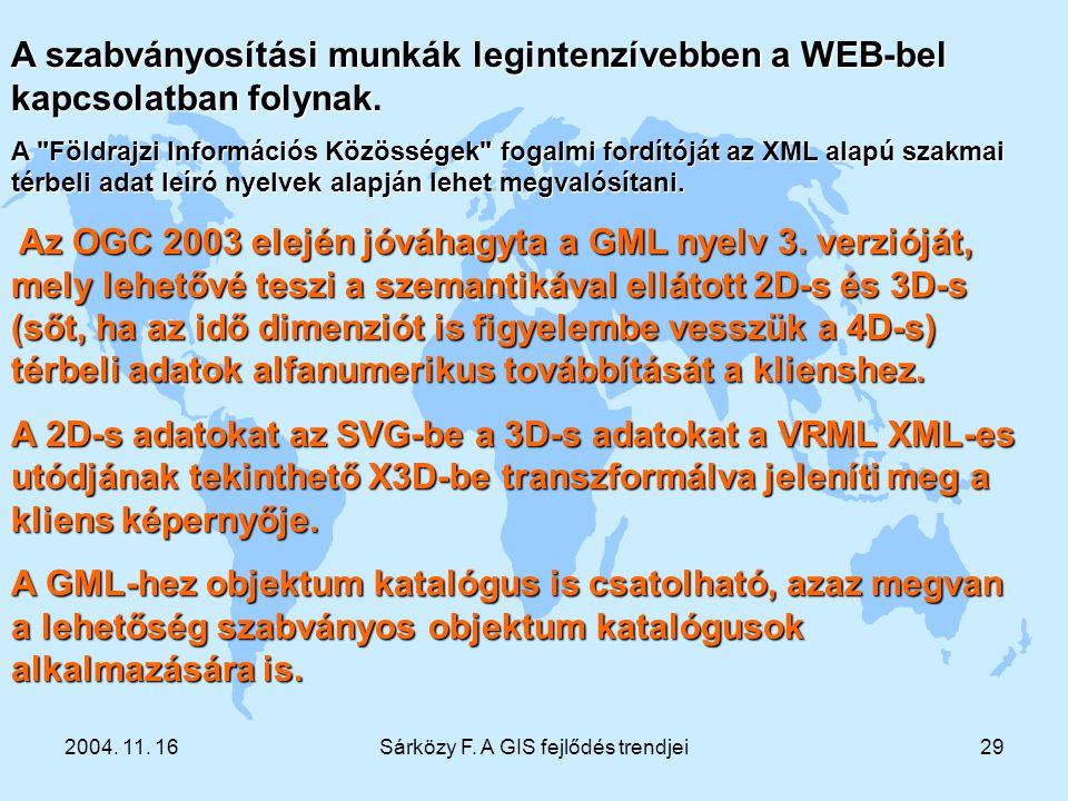 2004. 11. 16Sárközy F. A GIS fejlődés trendjei29 A szabványosítási munkák legintenzívebben a WEB-bel kapcsolatban folynak. A