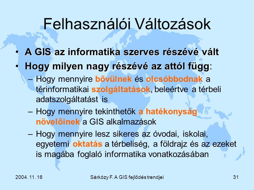 2004. 11. 16Sárközy F. A GIS fejlődés trendjei31 Felhasználói Változások A GIS az informatika szerves részévé váltA GIS az informatika szerves részévé