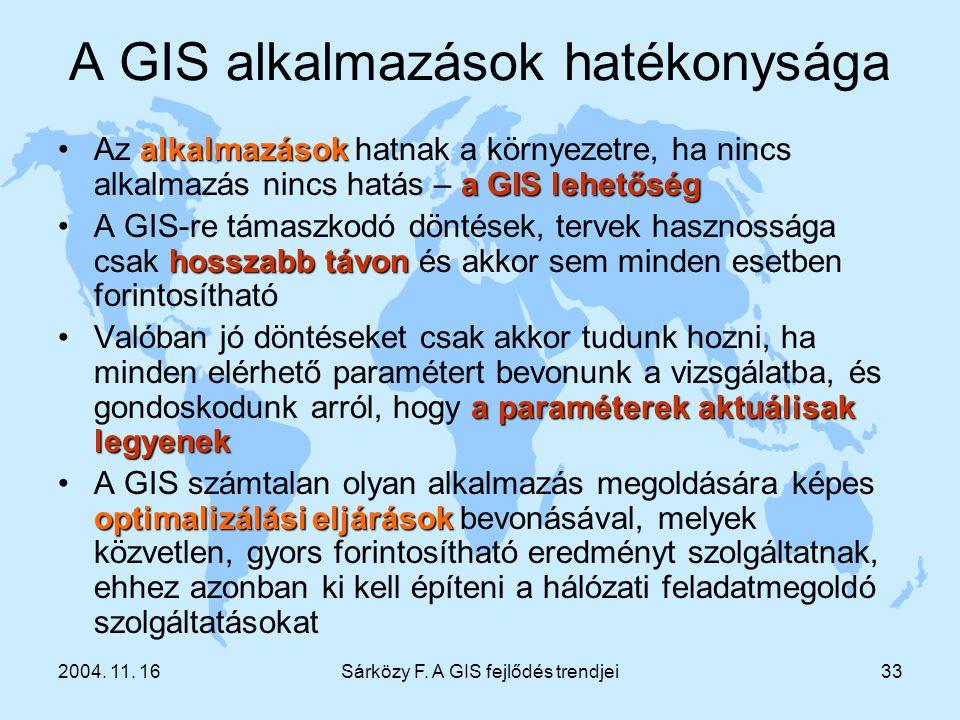 2004. 11. 16Sárközy F. A GIS fejlődés trendjei33 A GIS alkalmazások hatékonysága alkalmazások aGIS lehetőségAz alkalmazások hatnak a környezetre, ha n