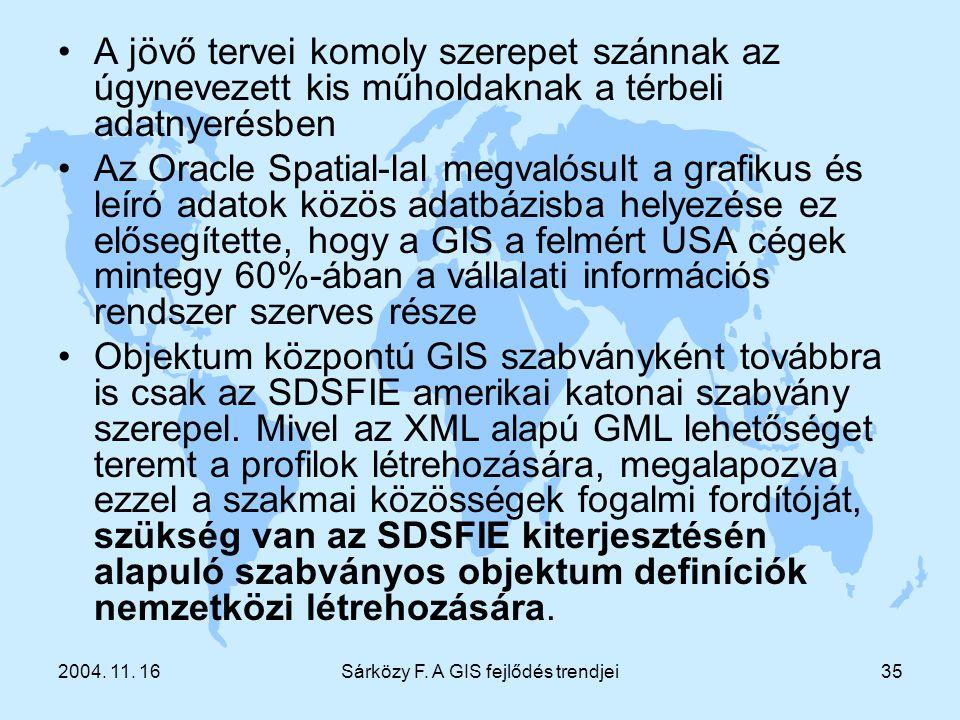 2004. 11. 16Sárközy F. A GIS fejlődés trendjei35 A jövő tervei komoly szerepet szánnak az úgynevezett kis műholdaknak a térbeli adatnyerésben Az Oracl