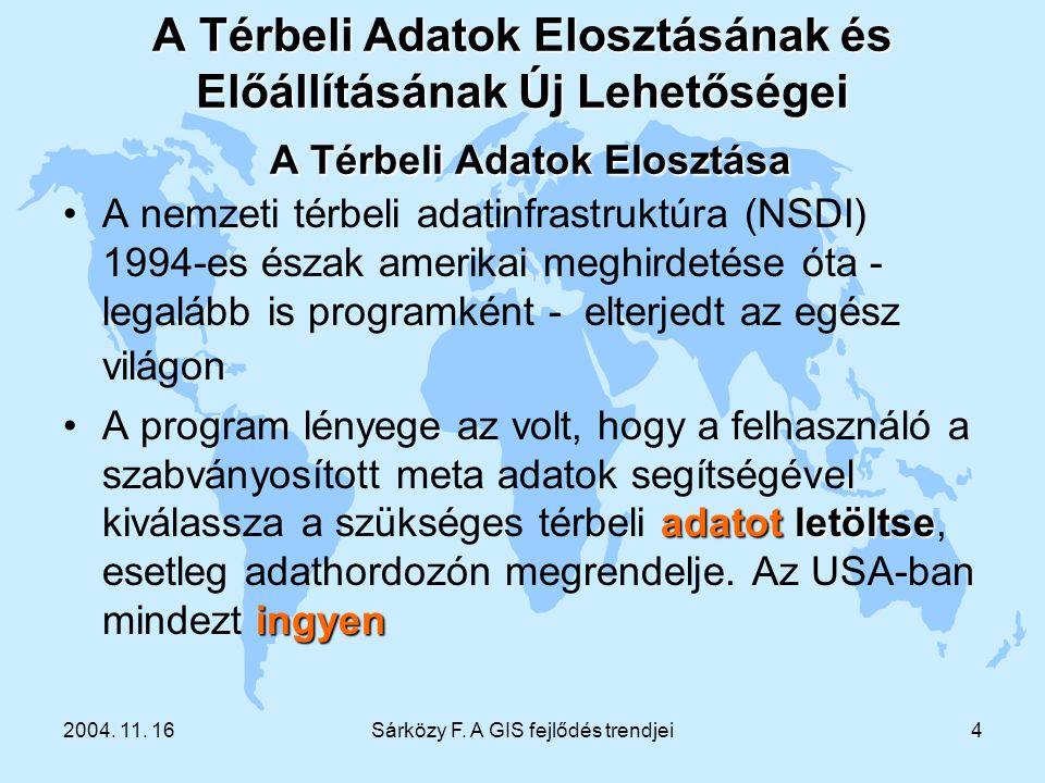 2004. 11. 16Sárközy F. A GIS fejlődés trendjei4 A Térbeli Adatok Elosztásának és Előállításának Új Lehetőségei A Térbeli Adatok Elosztása A nemzeti té