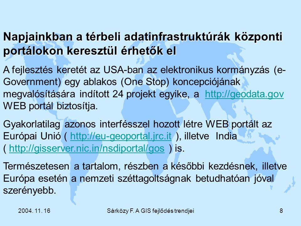 2004. 11. 16Sárközy F. A GIS fejlődés trendjei8 Napjainkban a térbeli adatinfrastruktúrák központi portálokon keresztül érhetők el A fejlesztés kereté