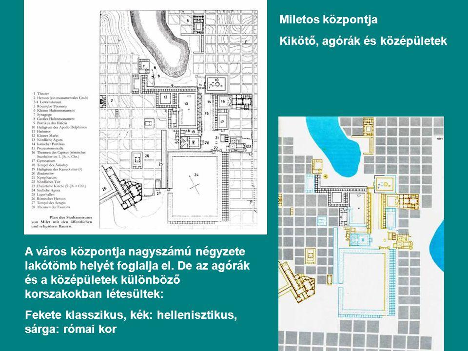 Miletos központja Kikötő, agórák és középületek A város központja nagyszámú négyzete lakótömb helyét foglalja el.