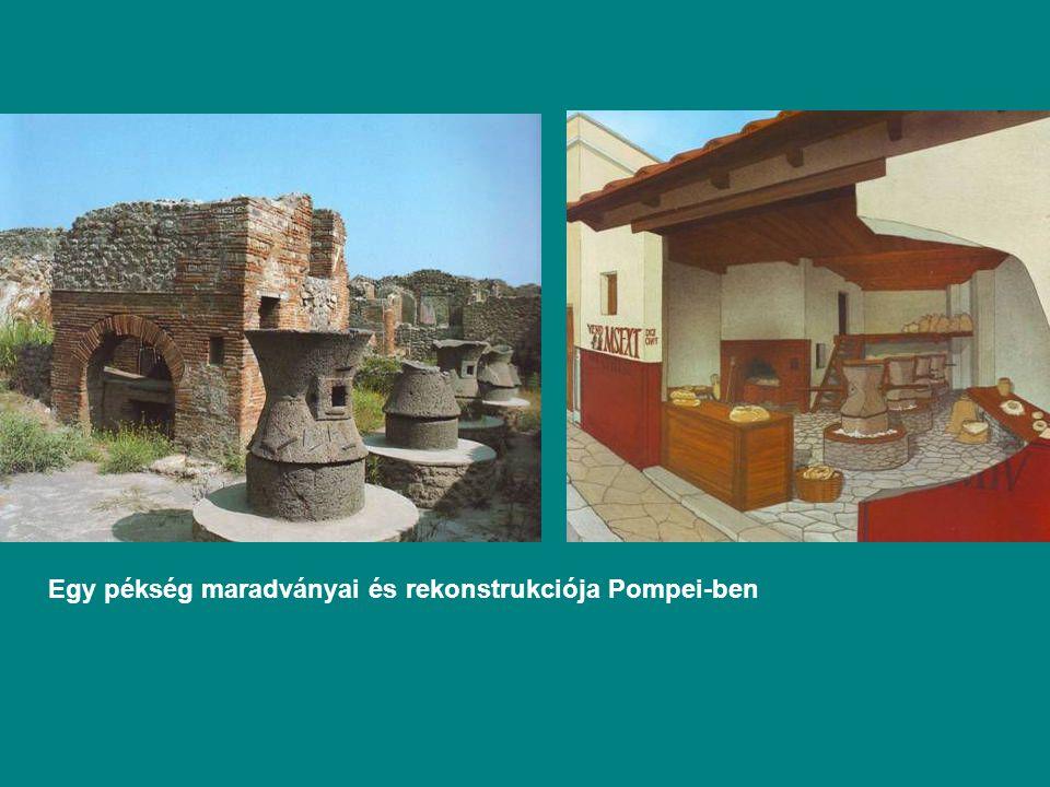 Egy pékség maradványai és rekonstrukciója Pompei-ben