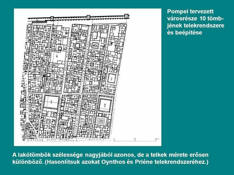 Pompei tervezett városrésze 10 tömb- jének telekrendszere és beépítése A lakótömbök szélessége nagyjából azonos, de a telkek mérete erősen különböző.