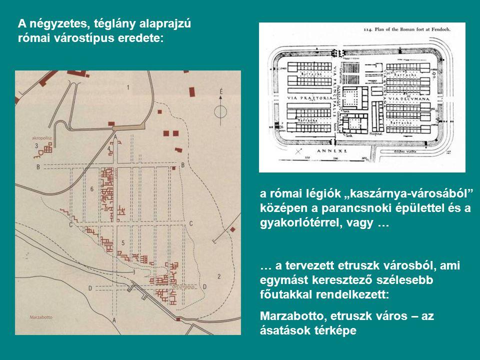 """A négyzetes, téglány alaprajzú római várostípus eredete: a római légiók """"kaszárnya-városából középen a parancsnoki épülettel és a gyakorlótérrel, vagy … … a tervezett etruszk városból, ami egymást keresztező szélesebb főutakkal rendelkezett: Marzabotto, etruszk város – az ásatások térképe"""