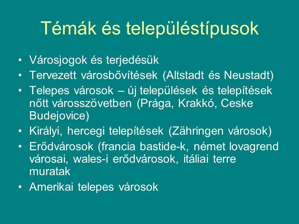 Témák és településtípusok Városjogok és terjedésük Tervezett városbővítések (Altstadt és Neustadt) Telepes városok – új települések és telepítések nőtt városszövetben (Prága, Krakkó, Ceske Budejovice) Királyi, hercegi telepítések (Zähringen városok) Erődvárosok (francia bastide-k, német lovagrend városai, wales-i erődvárosok, itáliai terre muratak Amerikai telepes városok