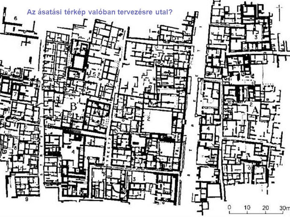A pompei-i ásatások madártávlati képe A közel párhuzamos utcák jelzik, hogy a város régebbi magját övező falakon kívül tervezés történt.