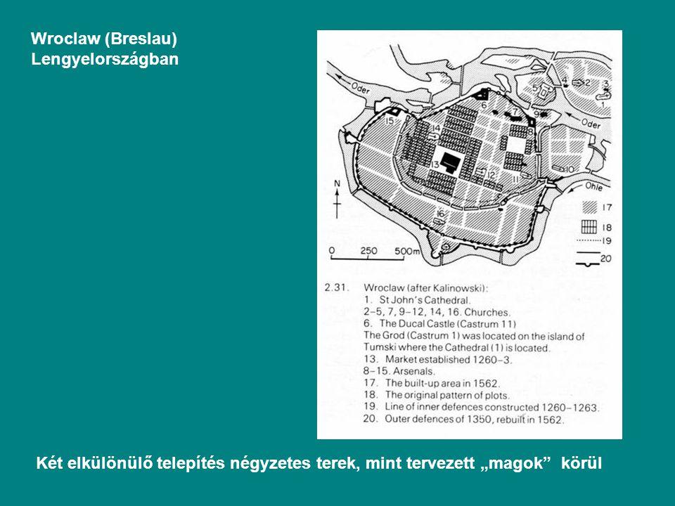 """Wroclaw (Breslau) Lengyelországban Két elkülönülő telepítés négyzetes terek, mint tervezett """"magok körül"""