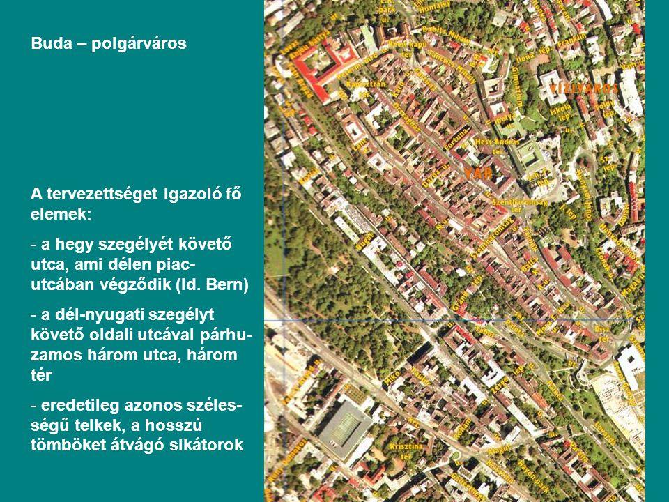 Buda – polgárváros A tervezettséget igazoló fő elemek: - a hegy szegélyét követő utca, ami délen piac- utcában végződik (ld.
