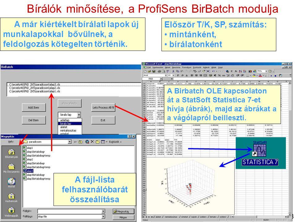 13/18 Bírálók minősítése, a ProfiSens BirBatch modulja A már kiértékelt bírálati lapok új munkalapokkal bővülnek, a feldolgozás kötegelten történik. E